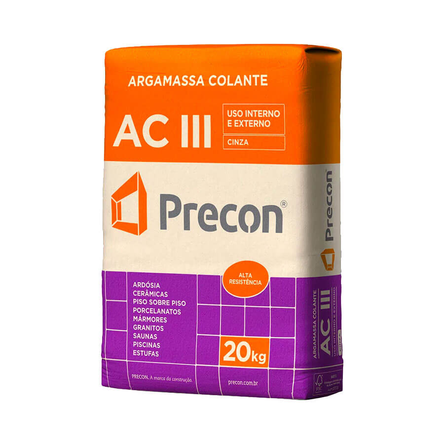 Argamassa AC III Cinza 20kg – Precon - Santa Cruz Acabamentos