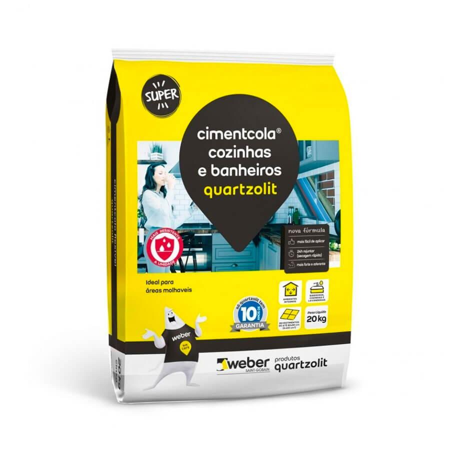 Argamassa Cozinhas e Banheiros Cinza 20kg – Quartzolit - Santa Cruz Acabamentos