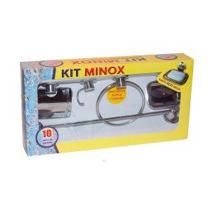 Kit de Acessórios para Banheiro com 5 peças 100% Inox - Minox