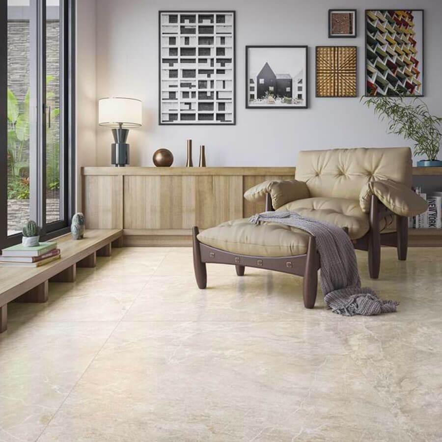 Porcelanato Acetinado Illuminato Beige Satin 90×90 Extra – Biancogres - Santa Cruz Acabamentos
