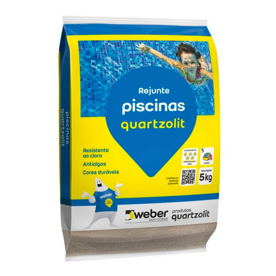 Rejunte para Piscinas Cinza Platina 5kg – Quartzolit - Santa Cruz Acabamentos