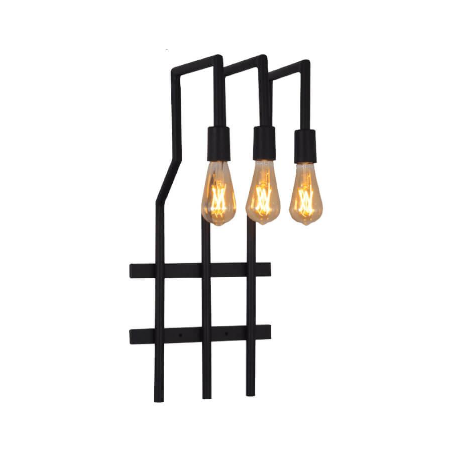 Arandela para 3 lâmpadas Vogue 70cm 3201 Preto – Attena - Santa Cruz Acabamentos
