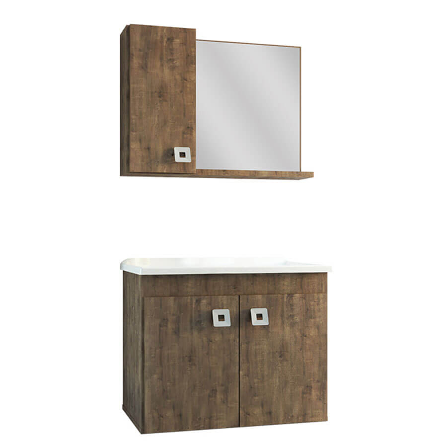 Conjunto Gabinete, Bancada e Espelho Tirare 600 Wengue 60cm – Gaam - Santa Cruz Acabamentos