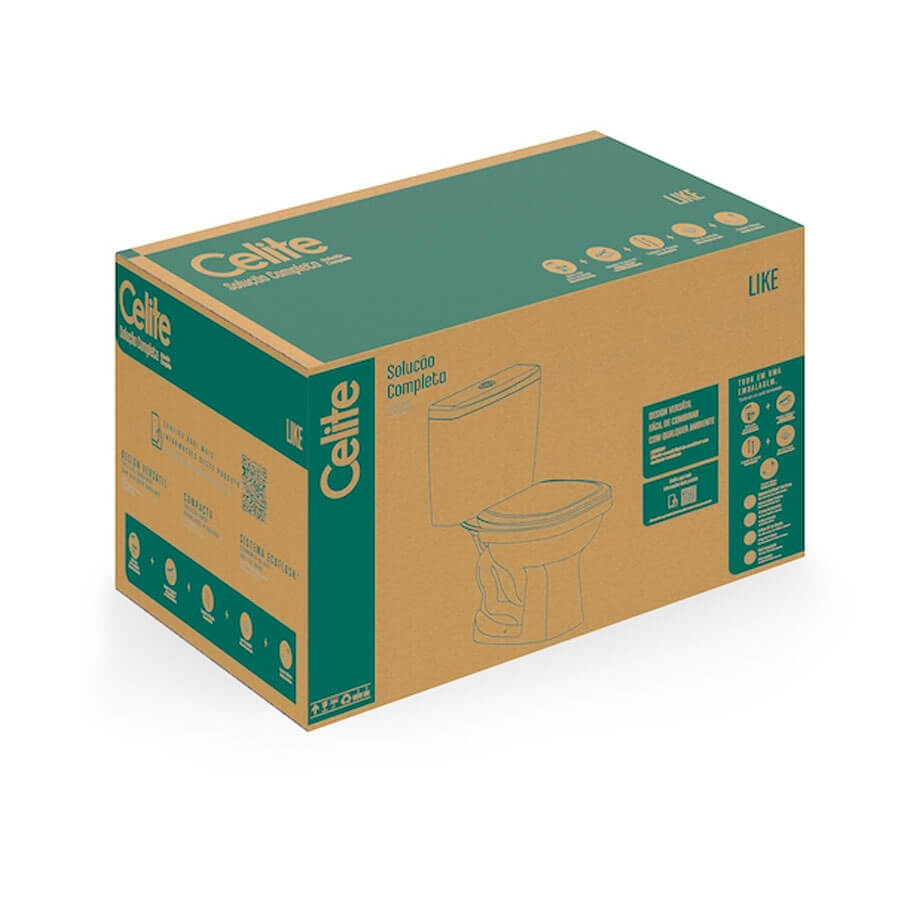 Kit Completo Bacia com Caixa Acoplada e Itens de Instalação Like Branco – Celite - Santa Cruz Acabamentos