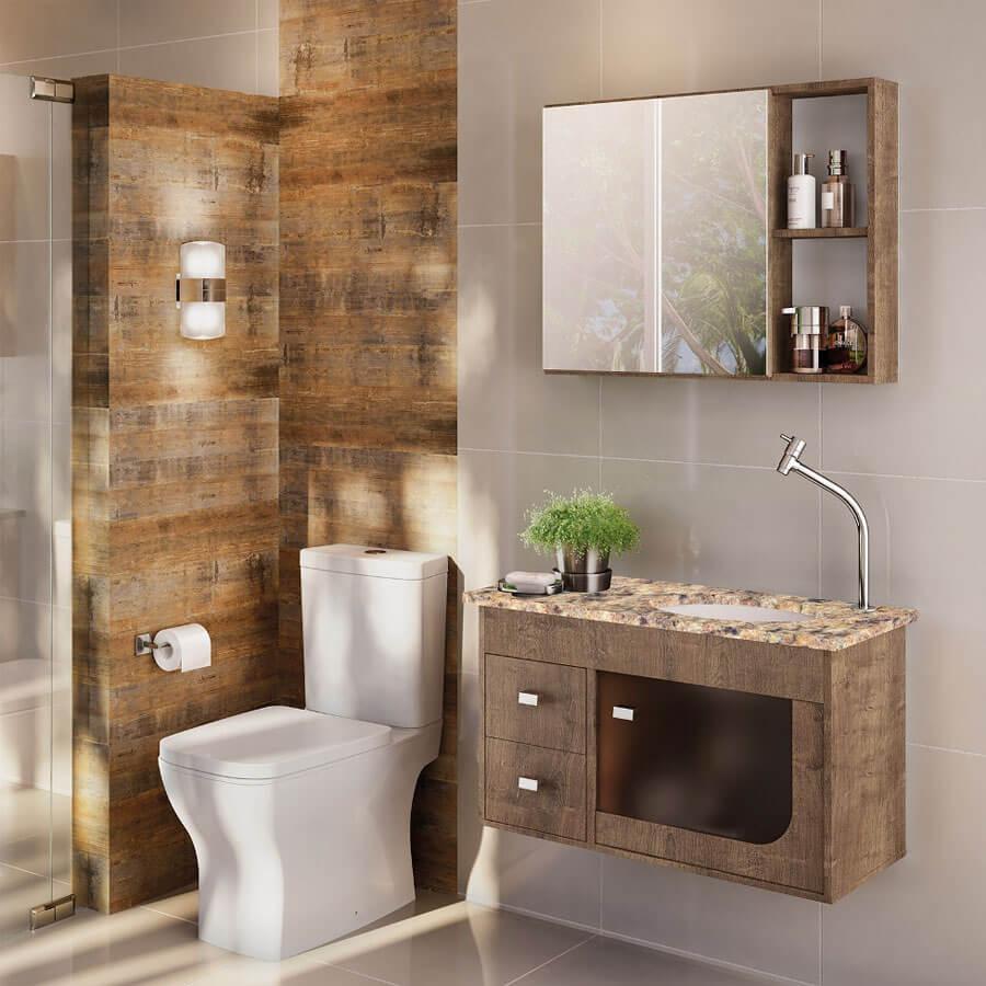 Conjunto Gabinete Banheiro Verona 800 Tampo Granito Amarelo Wengue – Gaam - Santa Cruz Acabamentos