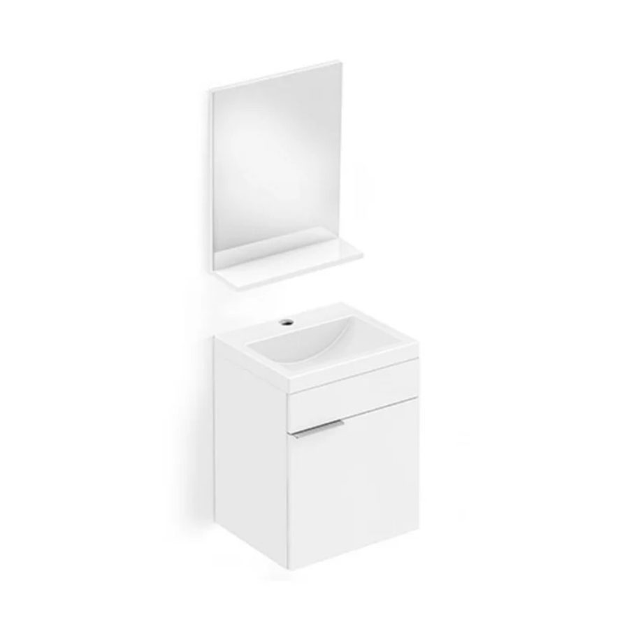 Gabinete para Banheiro Integrado de Madeira Like 41x34cm com Espelho e Prateleira Branco – Celite - Santa Cruz Acabamentos