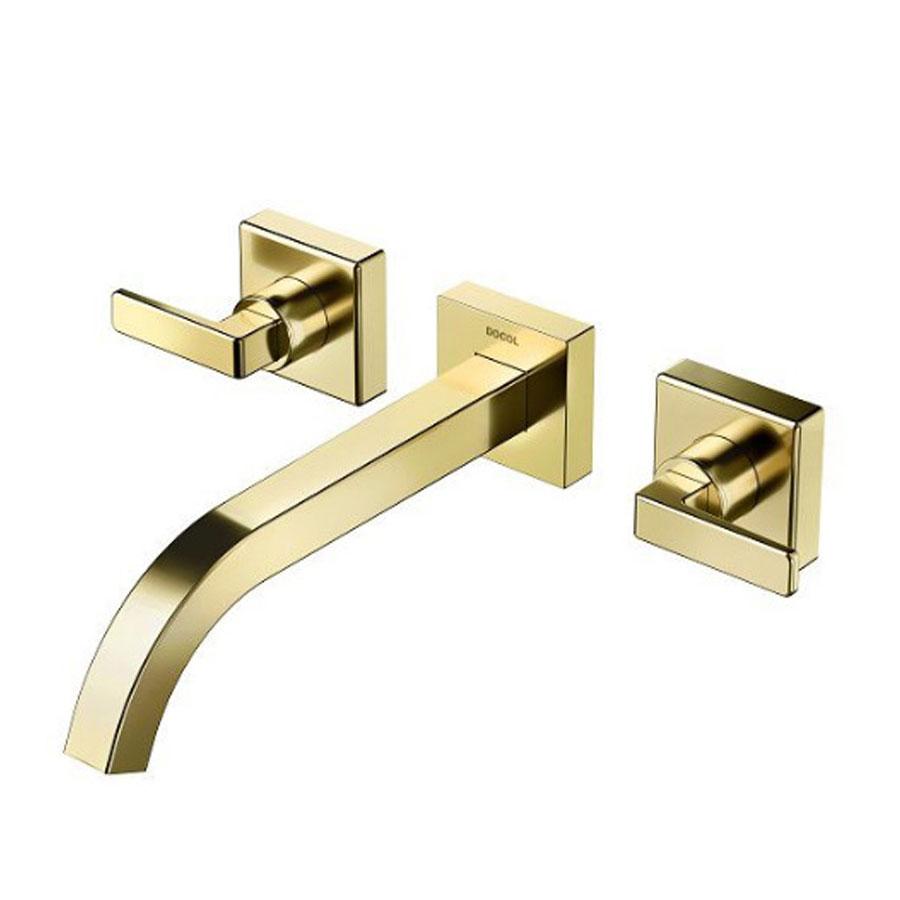 Misturador para Lavatório de Parede Stillo Ouro Polido 832443 – Docol - Santa Cruz Acabamentos