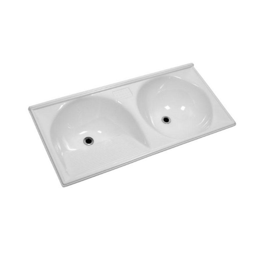 Tanque duplo de mármore TP120R 65l branco 120×60 – Decoralita - Santa Cruz Acabamentos